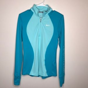Nike Dri-Fit Running Shirt Blue Quarter Zip Sz S